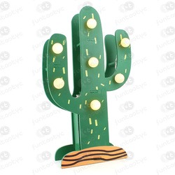 CACTUS MADERA VERDE LUCES LED